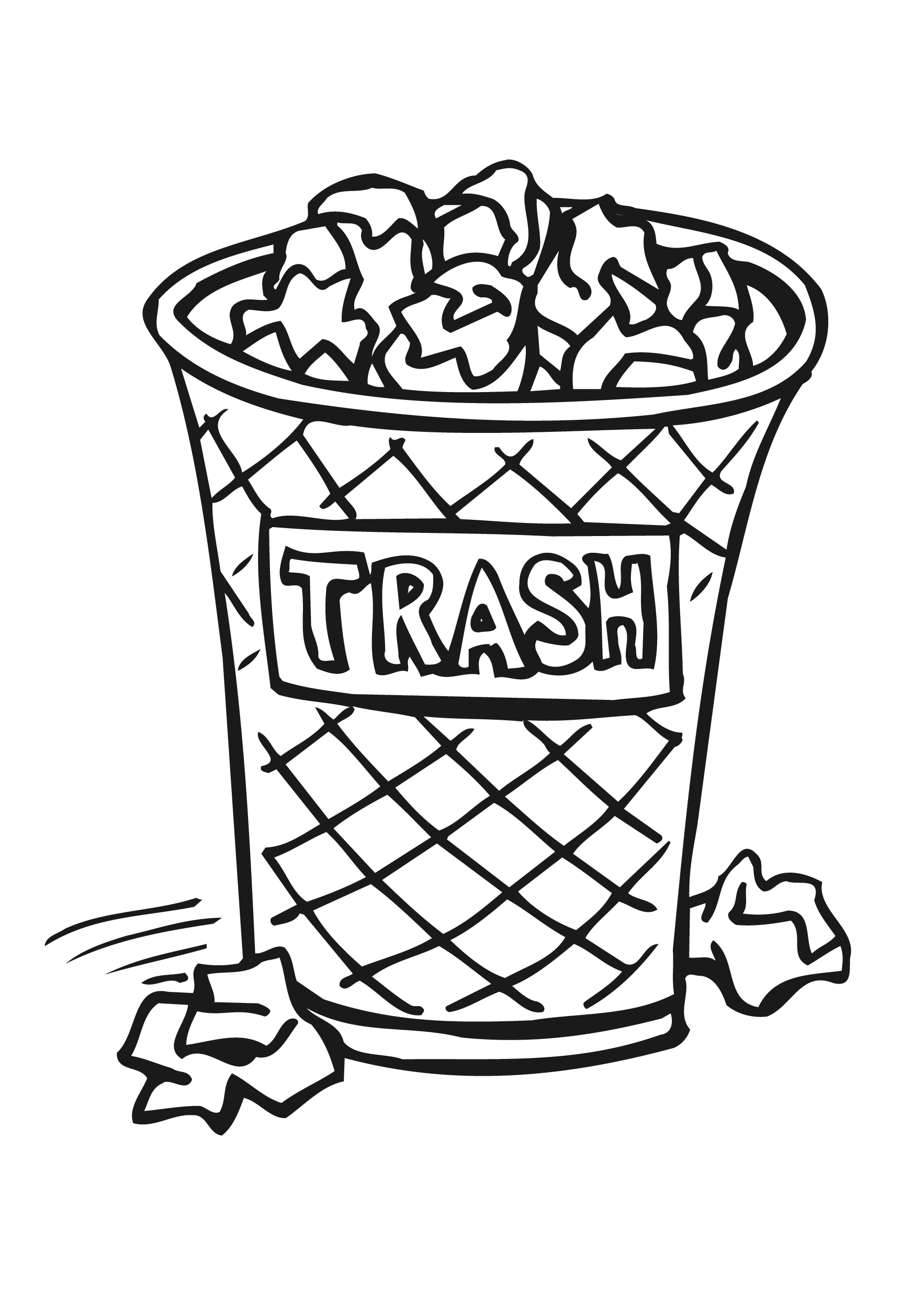 Trash Can Free Coloring Pages