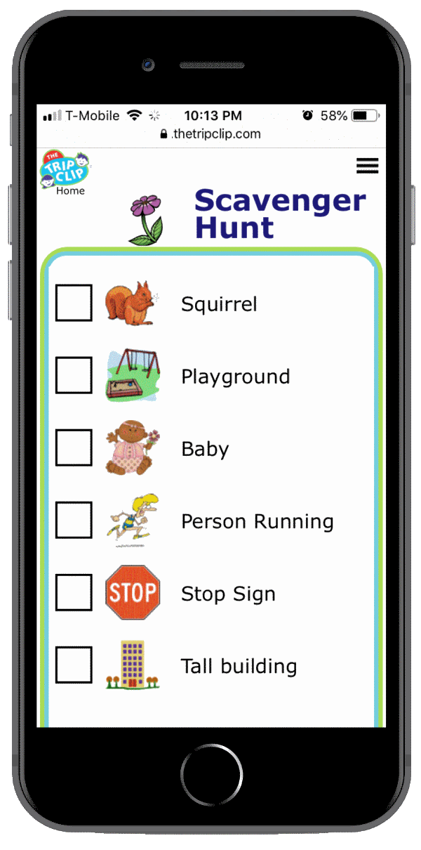 Picture checklists things for kids to find on walking scavenger hunt