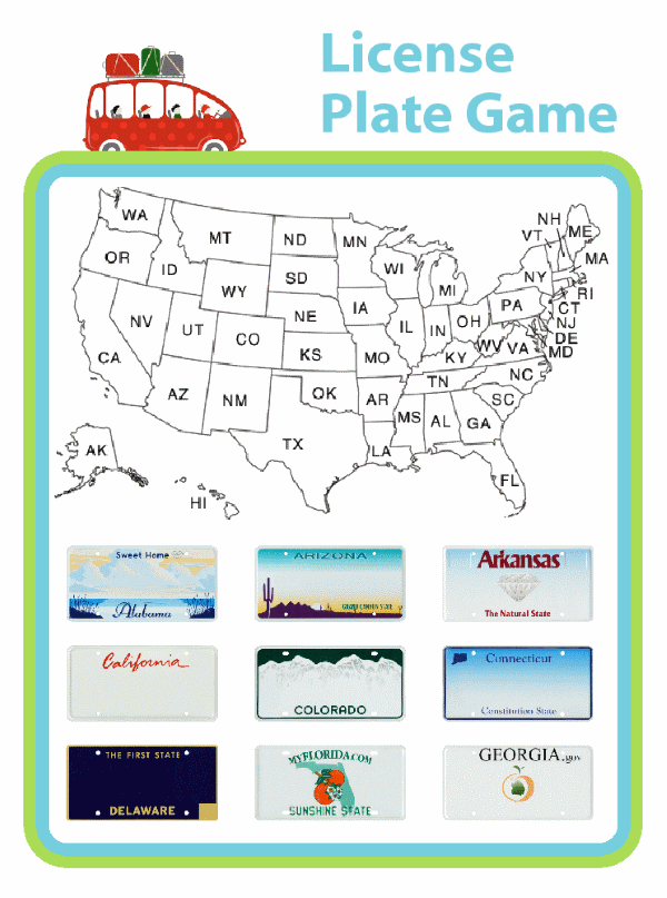 Going on a road trip? The whole family will have fun with this fun version of the license plate game. When you spot a license plate from a new state, check it off, and then color it in on the map