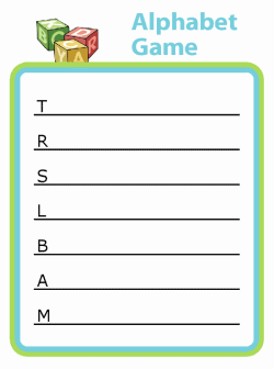 Alphabet game with first letter and blank line for kids to fill in a word