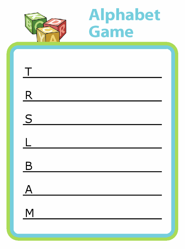 Great for entertainment and learning! Challenge your child to find an item nearby that begins with each letter. They'll have fun while practicing letter recognition, first letter sounds, handwriting and spelling!