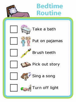 Picture checklist of bedtime routine for kids