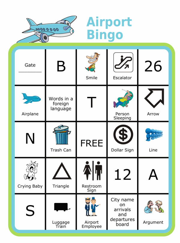 Bingo board with airplane at the top and title Airport Bingo