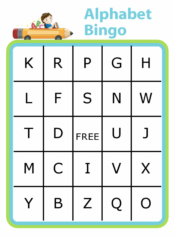So many possibilities with this twist on the alphabet game! Find a bingo all in one sign, or print two different boards and find them all in order before your opponent. Make it harder by looking only at first letters.