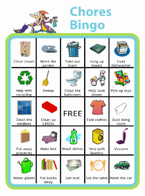 Bingo board with a person frantically cleaning at the top and titled Chores Bingo