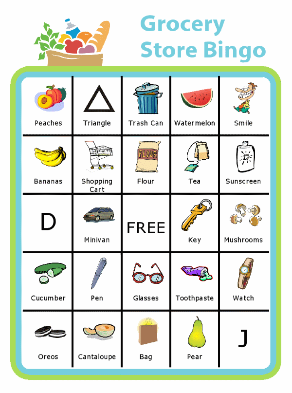 Bingo board with groceries at the top and titled Grocery Store Bingo