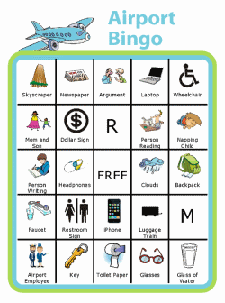 Sample Bingo boards: road trip, chores, alphabet, road sign. Over 1000 images, make your own