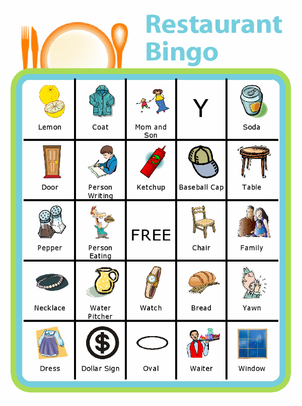 Bingo board with place setting at the top and titled Restaurant Bingo
