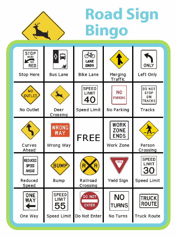 Bingo board with deer crossing sign at the top and titled Road Sign Bingo