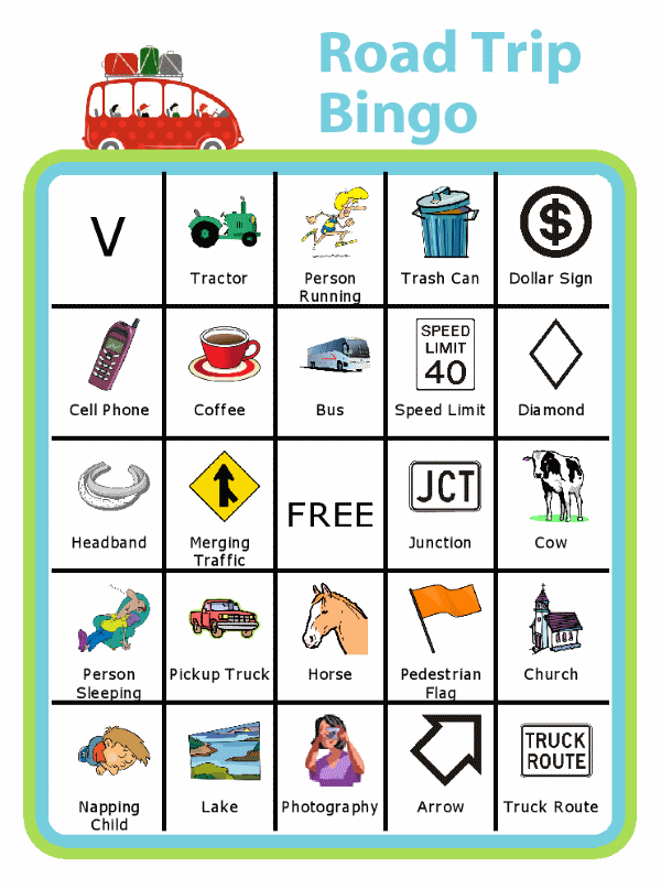 Bingo board with red car at the top and title Road Trip Bingo