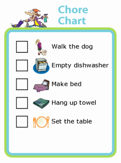 Picture checklist with chores for kids