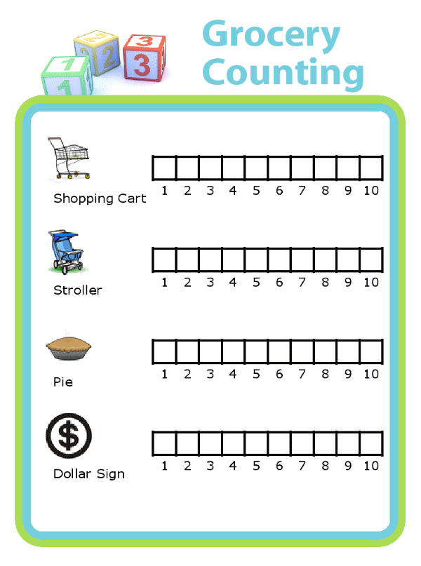 Chart for counting grocery carts, strollers, pies, and dollar signs at the grocery store