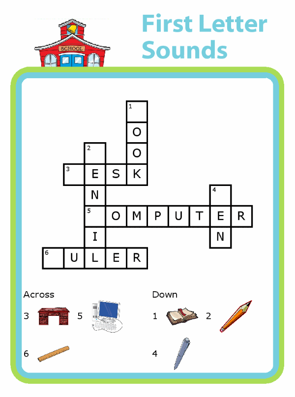 A very fun way to practice first letter sounds - with a picture crossword puzzle!  Try them with a kid-sized clipboard from The Trip Clip for great tech free travel!