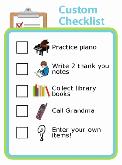 Custom picture checklist for kids that lets you enter your own items