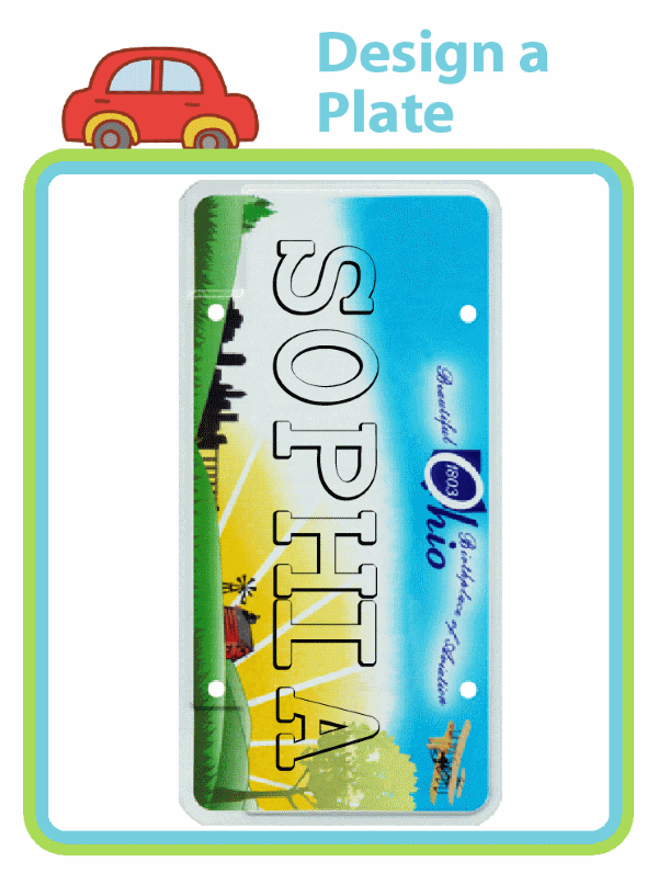 License plate backgrounds with child's name on it for coloring