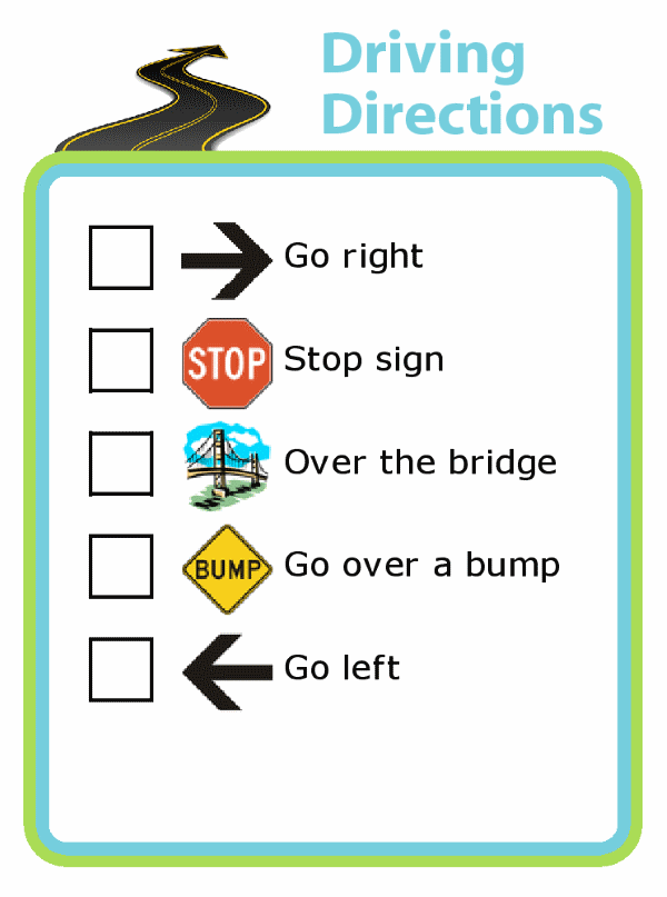 Picture checklist of driving directions for kids