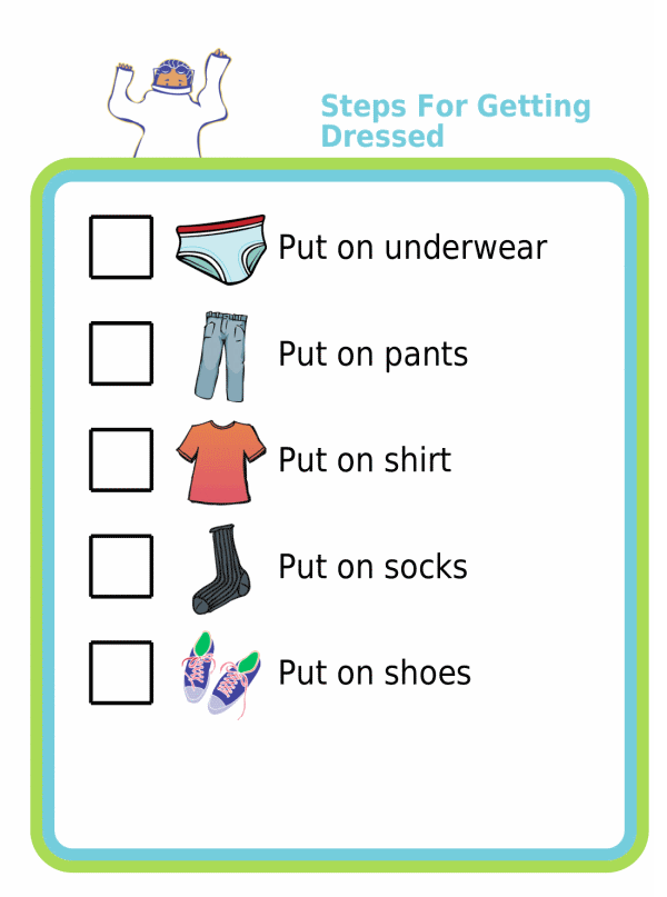 Picture checklist showing the steps for how to get dressed