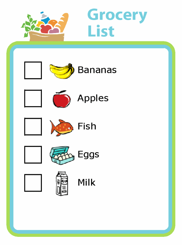 Picture grocery shopping list: bananas, apples, fish, eggs, milk