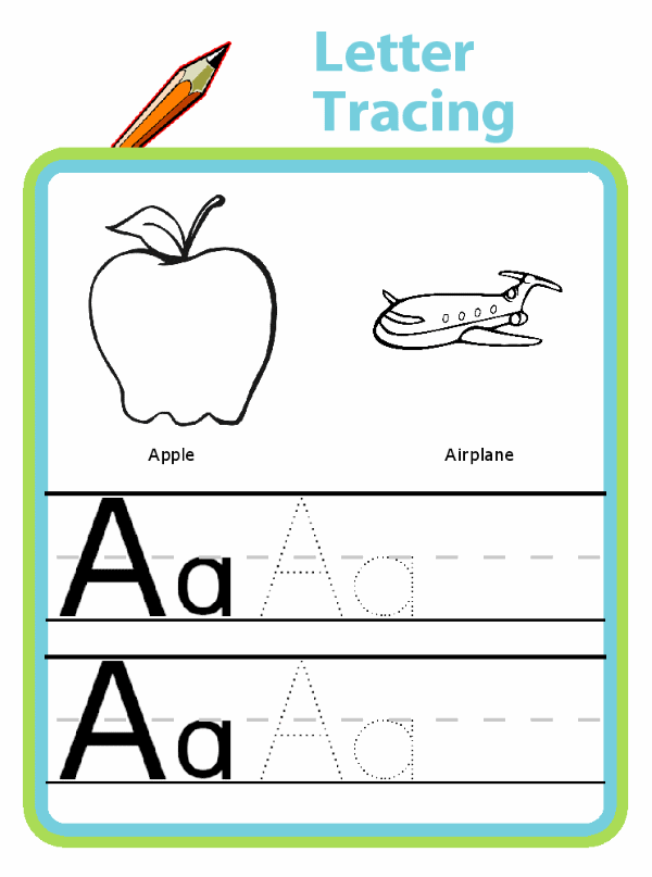 Trace letters A and B, picutres of apple, airplane, boat, bird, or your own name