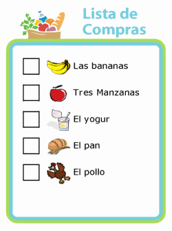 Lista de Compras picture checklist in spanish for grocery shopping