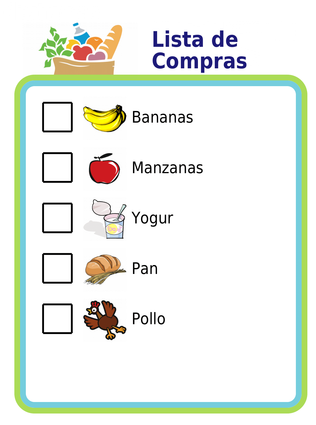 Practice a foreign language at the grocery store! You can edit the text next to the pictures to practice any language you like.