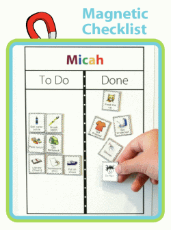 Magnetic To Do /  Done board with child's name at top and morning routine magnets