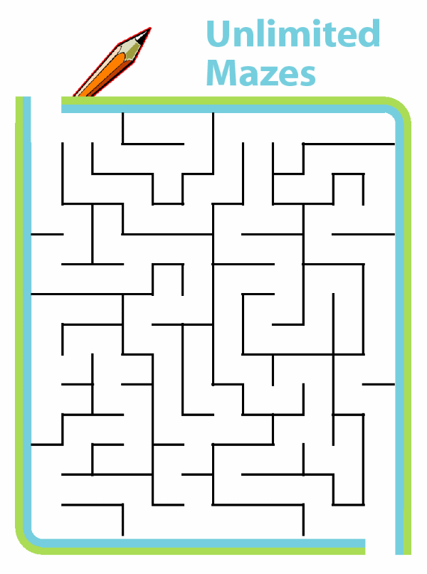 If your child can't ever get enough mazes, try these printable mazes that are generated automatically at all skill levels. Unlimited mazes!