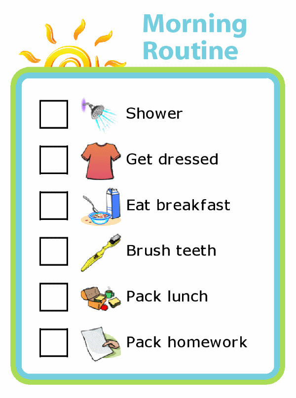 Morning routine picture checklist for kids