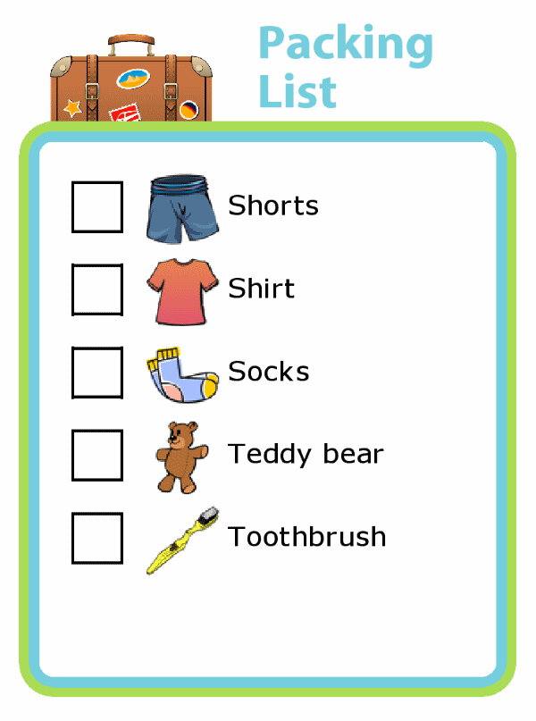 Picture checklist so kids can pack themselves