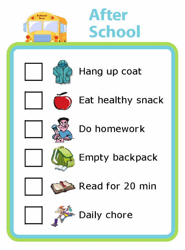 After School Picture Checklist