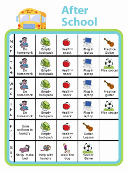 Picture checklist with clipart showing a weekly after school checklist for kids