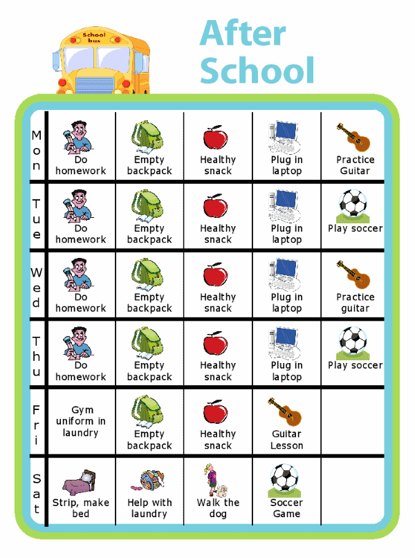 Get everyone organized with a weekly after school chart. It empowers your kids and can even help parents keep track of a kid's busy schedule!