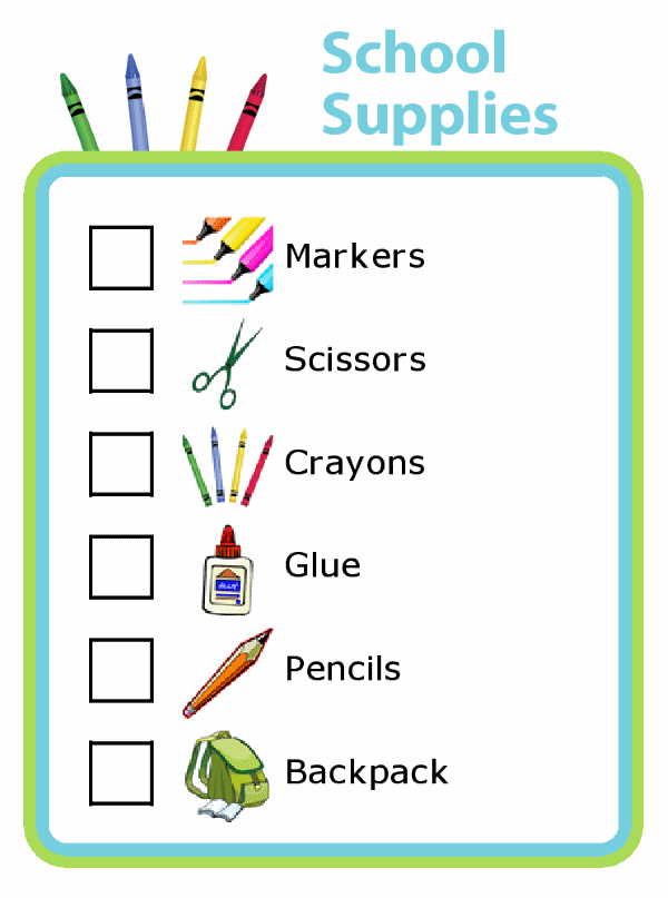 School Supplies List with Pictures for Kids - The Trip Clip
