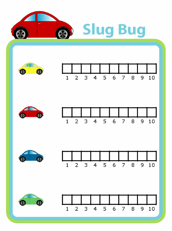 Slug bug game with simple graphing for kids