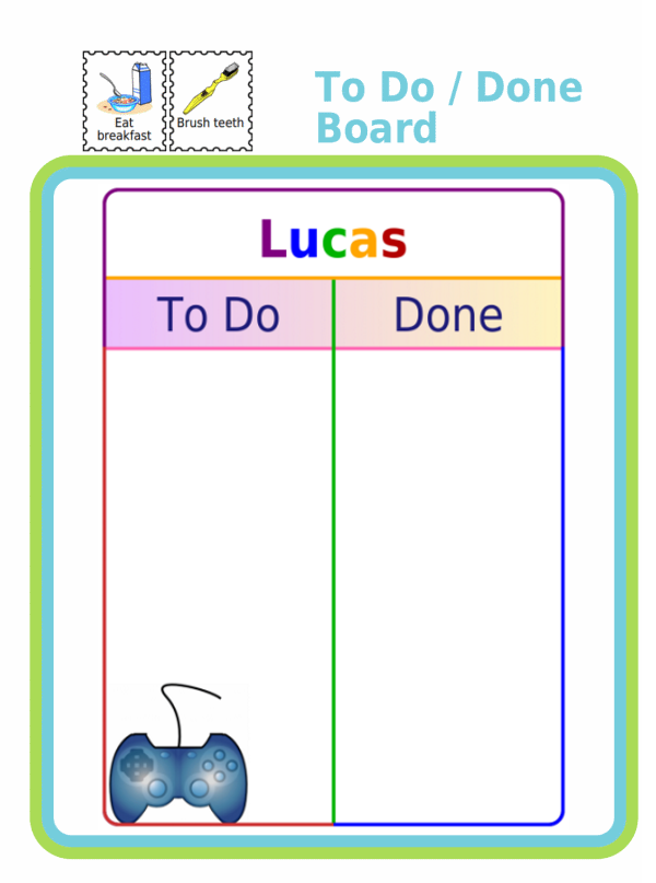 White To Do / Done Board with Logan in rainbow colors