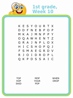 First grade spelling word search puzzle for kids
