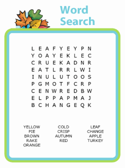 Fall themed printable word search puzzle for kids