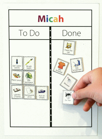 Make a personalized magnetic picture checklist for your kids. Print their name at the top, and choose the pictures and text for each magnet.