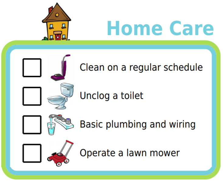 Picture checklists for personal care, life management, professional skills, life skills, and home care task
