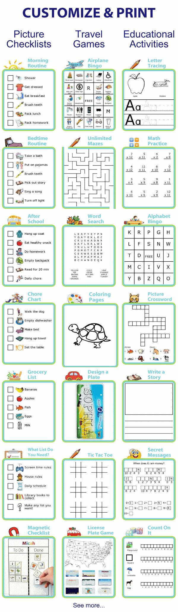 Over 30 activities for kids you can customize and print including picture checklists and travel games