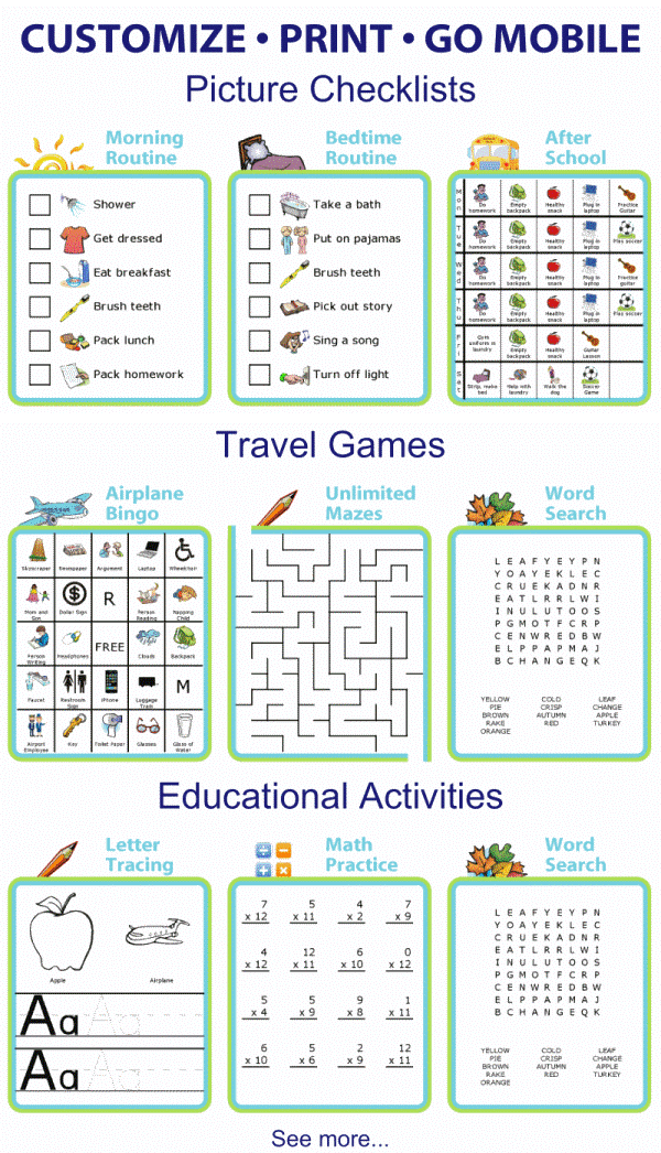 There are more than 30 activities to choose from! You'll find 12 picture checklists you can edit, print, and use on a mobile device, printable travel activities for great tech free travel, and printable educational activities that you can easily customize to your child's age and abilities.