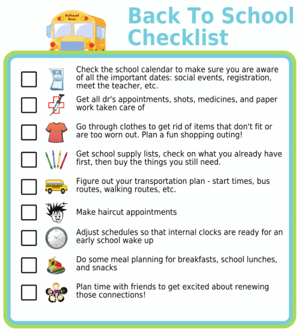Back to school picture checklist for parents