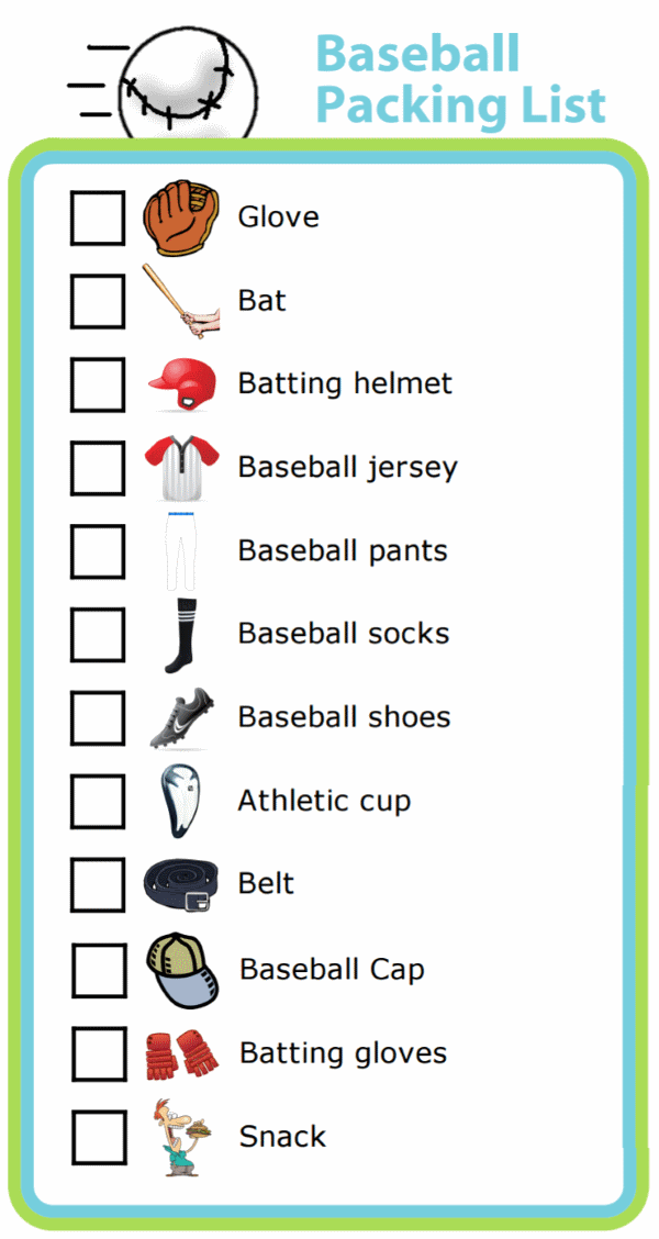 Picture checklist for making baseball packing list