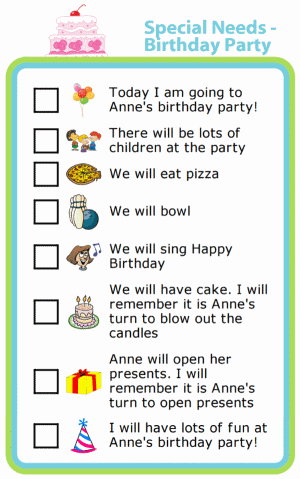 Picture checklist for special needs birthday party social story