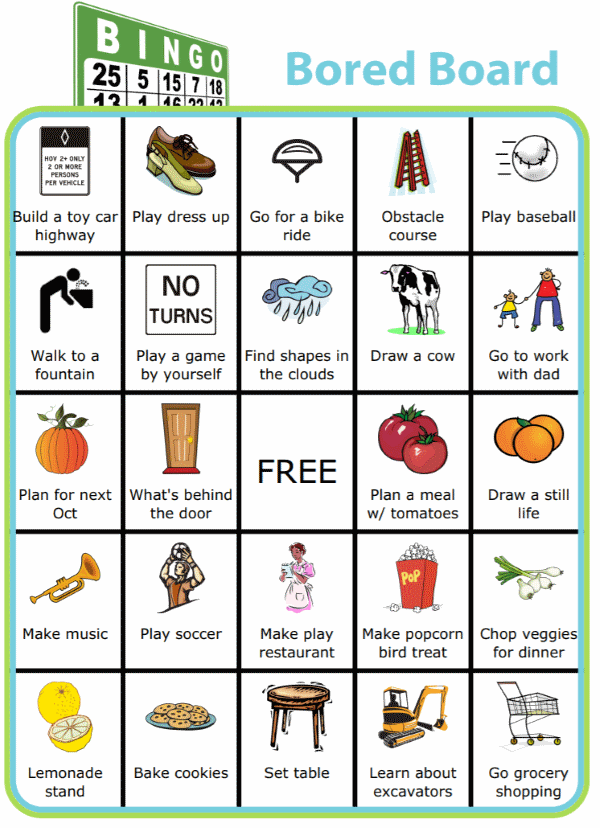 Bingo board with pictures and titled Bingo Bored Board