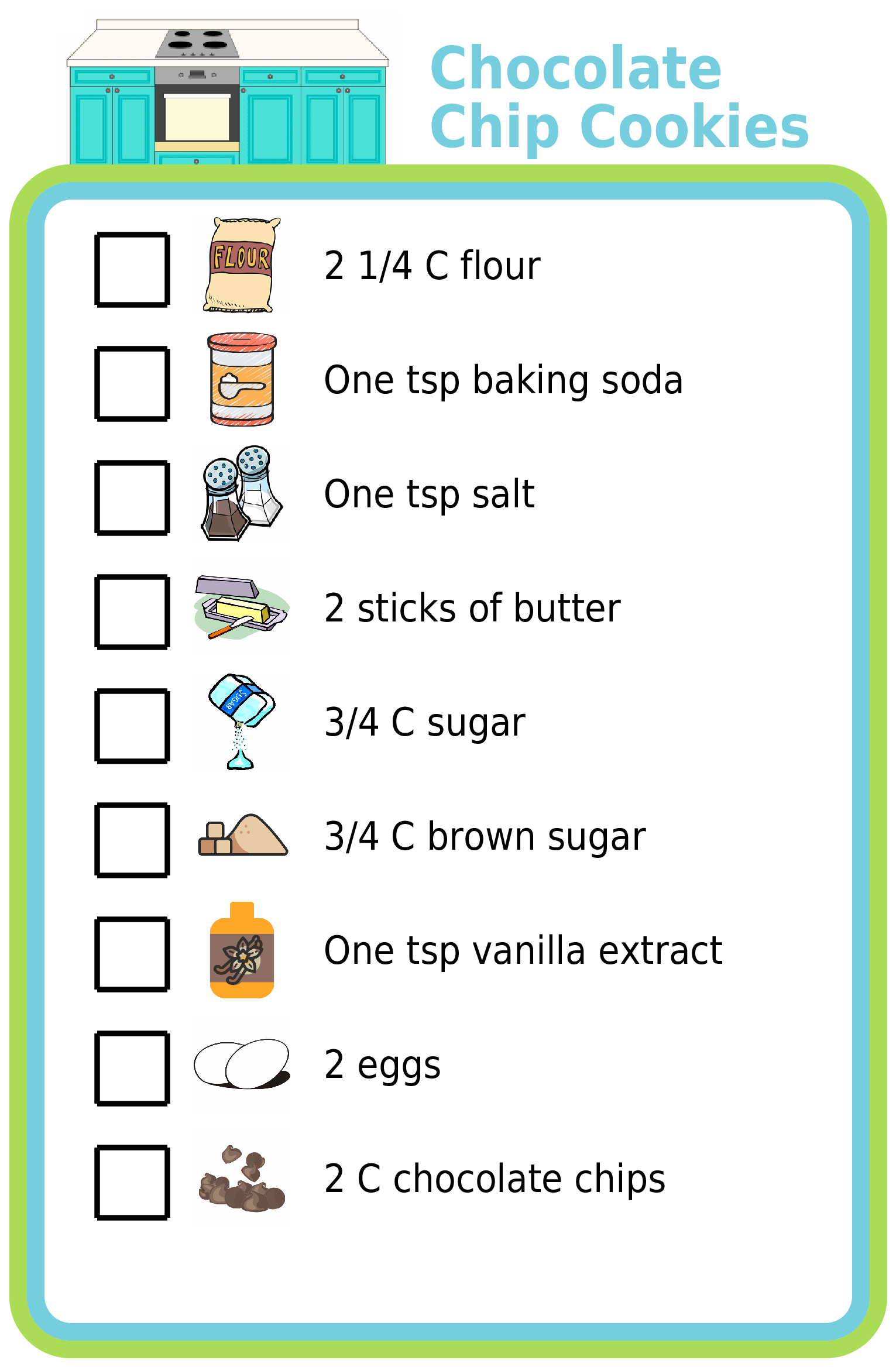 Picture checklist showing recipe for baking chocolate chip cookies
