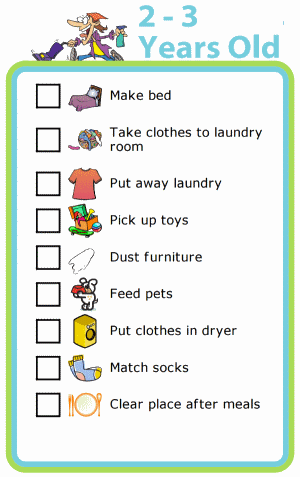 Picture checklist with chores appropriate for two to three year olds