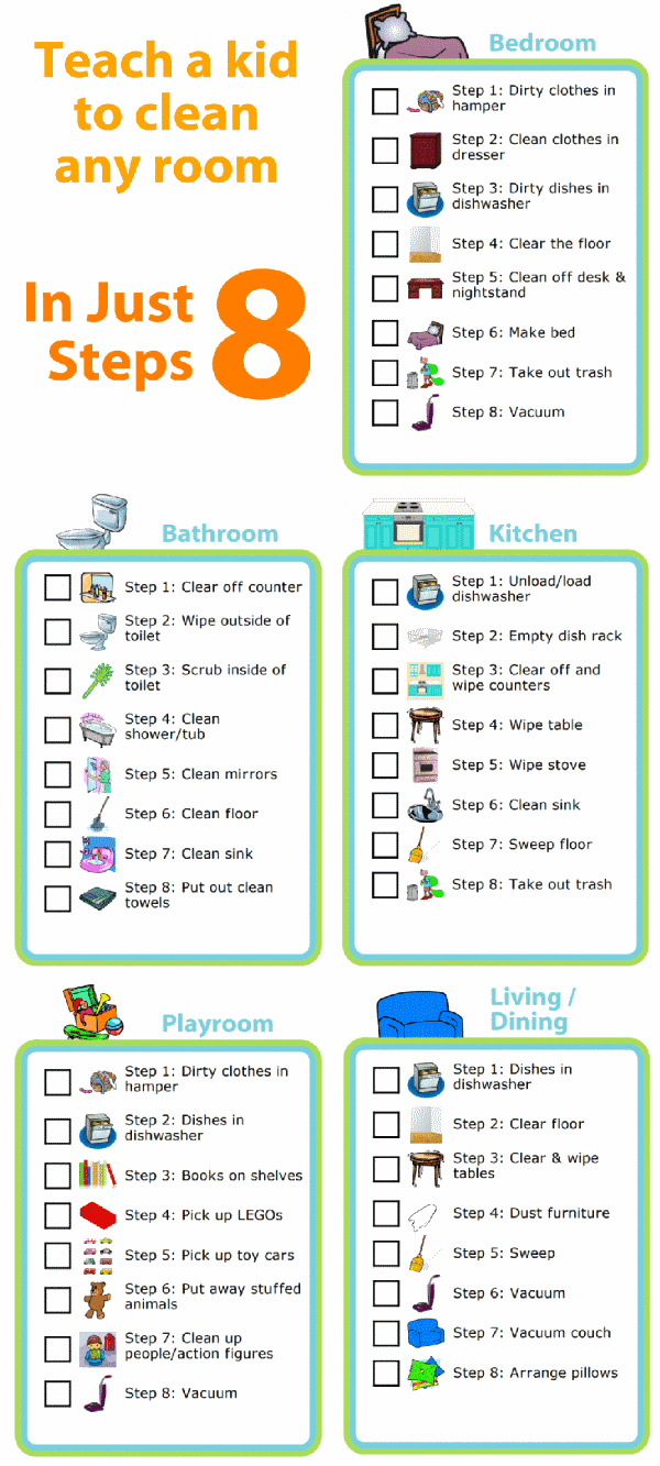 Picture checklists to teach a kid to clean any room in just 8 steps