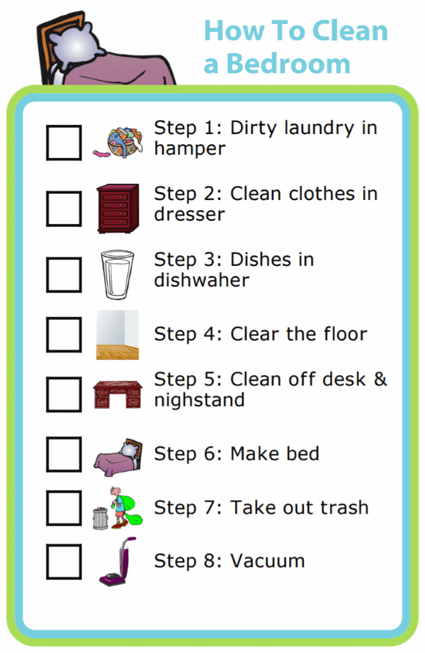 Picture checklists to teach a kid to clean a bedroom in 8 steps