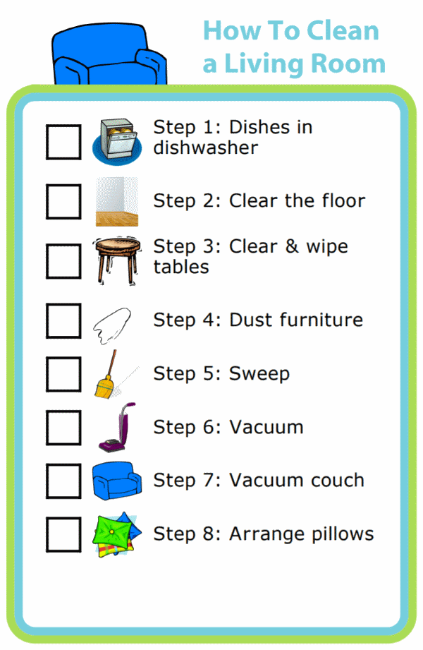Picture checklists to teach kids to clean a living or dining room in 8 steps